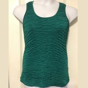 New Directions Ruched Green Tank Top Size Large